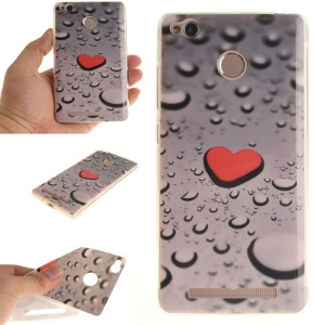 IMD TPU Case Protector for Xiaomi Redmi 3x - Red Heart and Raindrop