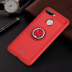 For Xiaomi Redmi 6 (Dual Camera: 12MP+5MP) Finger Ring Kickstand TPU Cover (Built-in Magnetic Metal Sheet) - Red