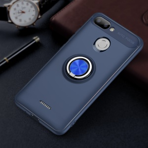 For Xiaomi Redmi 6 (Dual Camera: 12MP+5MP) Finger Ring Kickstand TPU Case Shell Cover (Built-in Magnetic Metal Sheet) - Dark Blue