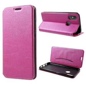 Auto-absorbed Card Holder Stand Leather Case for Xiaomi Mi 8 (6.21-inch) - Rose