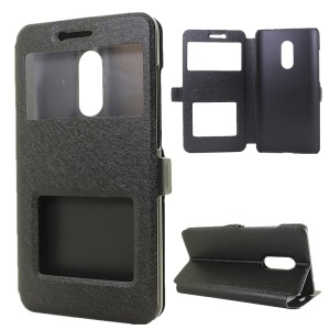 Dual View Windows Silk Texture Leather Stand Case for Xiaomi Redmi Note 4 - Black
