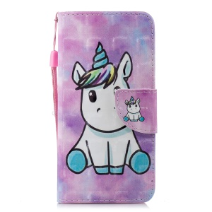 Pattern Printing Wallet Leather Protection Case for Xiaomi Redmi 6A (Single 12MP Rear Camera) - Unicorn