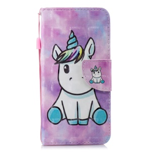 Pattern Printing Wallet Stand Leather Cover Shell for Xiaomi Redmi 6 (Dual Camera: 12MP+5MP) - Unicorn