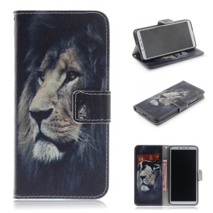 Pattern Printing Wallet Stand Leather Phone Shell for Xiaomi Redmi 6A - Lion