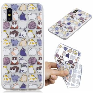 Pattern Printing IMD TPU Cell Phone Cover for Xiaomi Mi 8 (6.21-inch) - Cats Pattern
