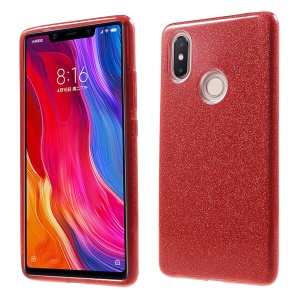 Glittery TPU + PC Hybrid Back Phone Case for Xiaomi Mi 8 SE (5.88-inch) - Red