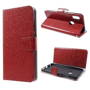 Glittery Powder Wallet Stand Leather Phone Case for Xiaomi Redmi Note 5 Pro (Dual Camera) / Redmi Note 5 (China) - Red