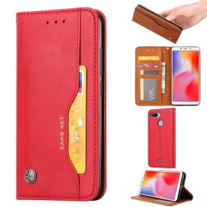 Auto-absorbed PU Leather Stand Wallet Cover for Xiaomi Redmi 6 / Redmi 6A - Red
