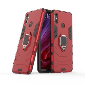 Finger Ring Kickstand PC + TPU Combo Mobile Phone Cover for Xiaomi Mi Max 3 - Red