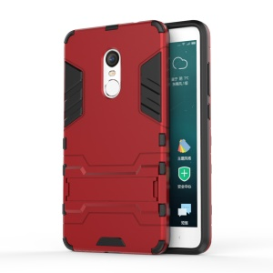 Solid PC + TPU Combo Case with Kickstand for Xiaomi Redmi Note 4 - Red