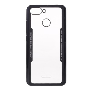 For Xiaomi Redmi 6 (Dual Camera: 12MP+5MP) Silicone Frame + Transparent Acrylic Back Hybrid Mobile Case - Black