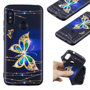 Pattern Printing Embossment Soft TPU Cover for Xiaomi Mi A2 Lite / Redmi 6 Pro - Colorized Butterfly