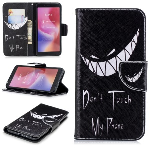 Pattern Printing Wallet Stand Leather Cell Phone Case for Xiaomi Redmi 6 - Angry Face