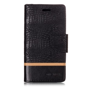 Crocodile Texture Splicing PU Leather Wallet Stand Case for Xiaomi Redmi 6A - Black