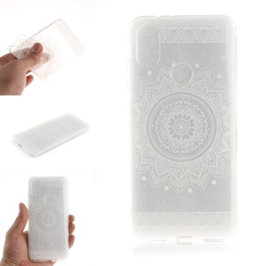 Pattern Printing IMD TPU Shell Case for Xiaomi Mi A2 / Mi 6X - White Mandala Flower