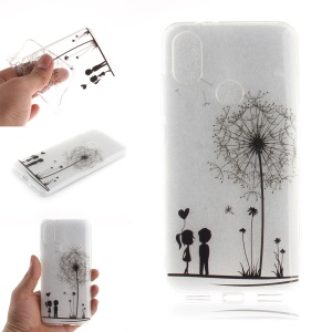 Pattern Printing IMD TPU Cover Shell for Xiaomi Mi A2 / Mi 6X - Dandelion and Lovers