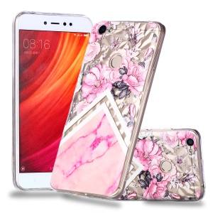 Pattern Printing Embossed 3D Diamond Surface TPU Cover for Xiaomi Redmi Note 5A Prime / Redmi Y1 - Pink Flowers and Marble Pattern