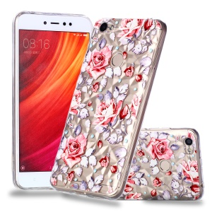 Pattern Printing Embossed 3D Diamond Surface TPU Cover Case for Xiaomi Redmi Note 5A Prime / Redmi Y1 - Vivid Flowers