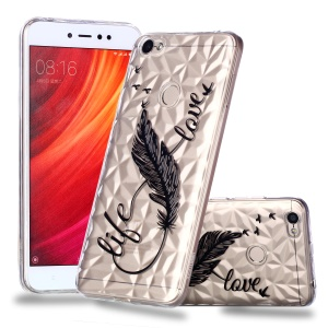 Pattern Printing Embossed 3D Diamond Surface TPU Protection Case for Xiaomi Redmi Note 5A Prime / Redmi Y1 - Feather Pattern