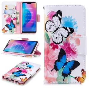 Pattern Printing Wallet Stand Leather Phone Cover for Xiaomi Mi A2 Lite / Redmi 6 Pro - Butterfly and Flower