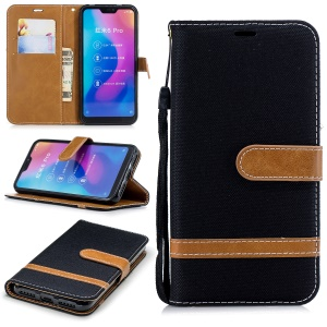Assorted Color Jeans Cloth Wallet Stand Leather Case for Xiaomi Mi A2 Lite / Redmi 6 Pro - Black