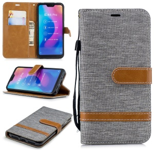 Assorted Color Jeans Cloth Wallet Stand Leather Cover for Xiaomi Mi A2 Lite / Redmi 6 Pro - Grey