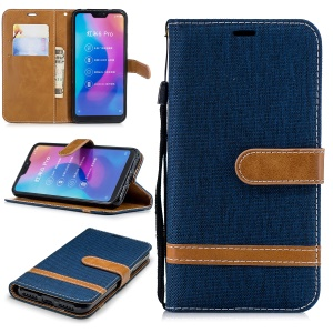Assorted Color Jeans Cloth Leather Wallet Cover for Xiaomi Mi A2 Lite / Redmi 6 Pro - Dark Blue