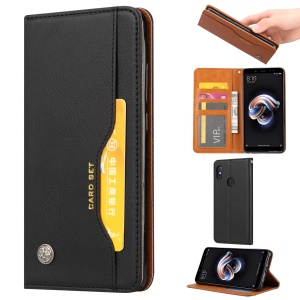 PU Leather Auto-absorbed Stand Wallet Phone Case for Xiaomi Redmi 6 Pro / Mi A2 Lite - Black