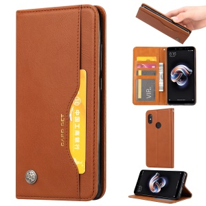 PU Leather Auto-absorbed Stand Wallet Protective Casing for Xiaomi Mi Max 3 - Brown