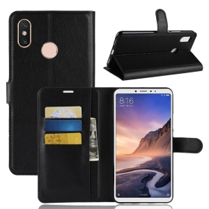Litchi Skin Wallet Leather Stand Case for Xiaomi Mi Max 3 - Black