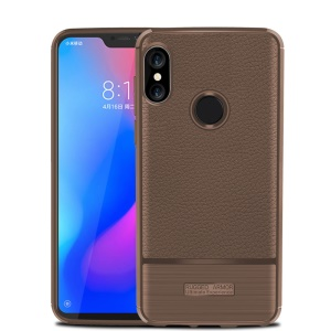 Litchi Texture Brushed TPU Mobile Cover for Xiaomi Mi A2 Lite / Redmi 6 Pro - Brown