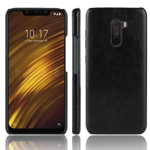 Litchi Texture PU Leather Coated Plastic Hard Case for Xiaomi Pocophone F1 / Poco F1 (India) - Black