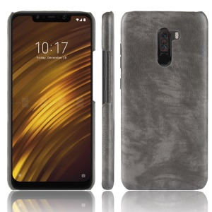 Litchi Texture PU Leather Coated Plastic Hard Cover for Xiaomi Pocophone F1 / Poco F1 (India) - Grey