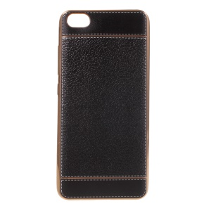 PU Leather Coated Plating TPU Case for Xiaomi Mi 5 - Black