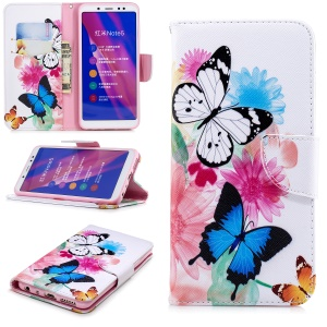 Pattern Printing Wallet Leather Stand Case for Xiaomi Redmi Note 5 Pro (Dual Camera) / Redmi Note 5 (China) - Vivid Butterflies