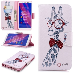 Pattern Printing Wallet Leather Phone Case for Xiaomi Redmi Note 5 Pro (Dual Camera) / Redmi Note 5 (China) - Adorable Giraffe Wearing Glasses
