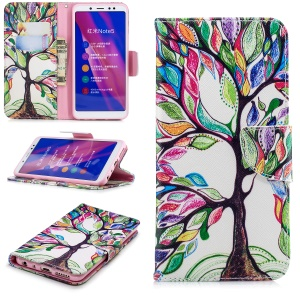 Pattern Printing Magnetic Leather Stand Cover for Xiaomi Redmi Note 5 Pro (Dual Camera) / Redmi Note 5 (China) - Colorized Tree