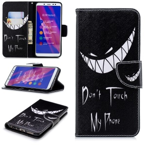 Pattern Printing Leather Stand Cover with Card Slots for Xiaomi Redmi Note 5 Pro (Dual Camera) / Redmi Note 5 (China) - Do not Touch My Phone