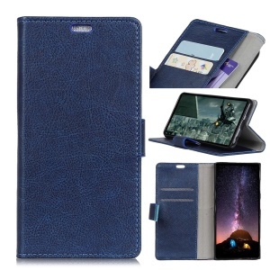 Crazy Horse [Wallet Stand] Split Leather Phone Case for Xiaomi Pocophone F1 / Poco F1 (India) - Blue