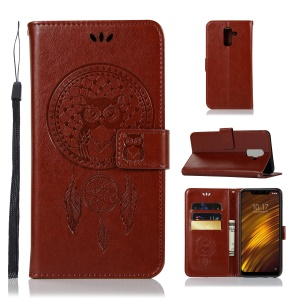 Imprint Owl Dream Catcher Wallet Stand Leather Cellphone Case for Xiaomi Pocophone F1 / Poco F1  (India) - Brown