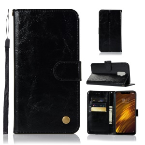 Premium Vintage PU Leather Stand Wallet Phone Case for Xiaomi Pocophone F1 / Poco F1 (India) - Black