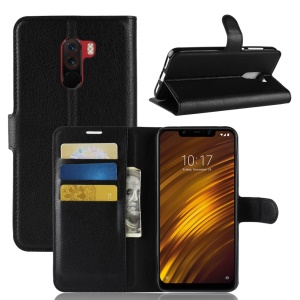 For Xiaomi Pocophone F1 / Poco F1 (India) Case Litchi Grain Leather Case (Stand and Wallet) - Black