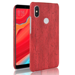 Wood Texture PU Leather Coated Hard PC Phone Case for Xiaomi Redmi Note 6 Pro - Red