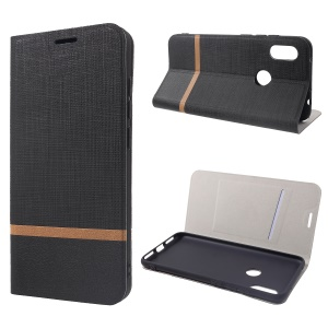Cross Pattern Leather Card Holder Phone Cover (Built-in Steel Sheet) for Xiaomi Redmi Note 6 Pro - Black