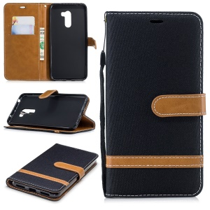 Splicing Jean Cloth PU Leather Wallet Stand Case with Strap for Xiaomi Pocophone F1 / Poco F1 (India) - Black