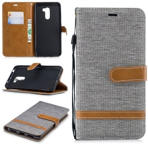 Splicing Jean Cloth PU Leather Wallet Stand Cover with Strap for Xiaomi Pocophone F1 / Poco F1 (India) - Grey