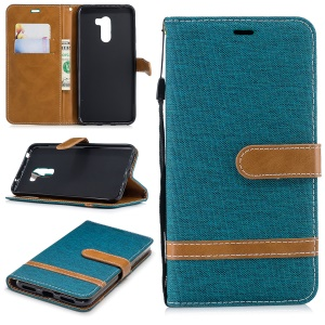 Splicing Jean Cloth PU Leather Wallet Stand Cell Phone Case with Strap for Xiaomi Pocophone F1 / Poco F1 (India) - Green