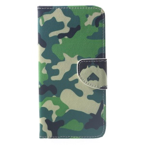 Patterned Cross Texture Wallet Stand Leather Cover for Xiaomi Pocophone F1 / Poco F1 (India) - Camouflage