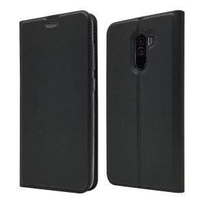 Auto-absorbed Card Holder Stand Leather Mobile Case for  Xiaomi Pocophone F1 / Poco F1 (India) - Black
