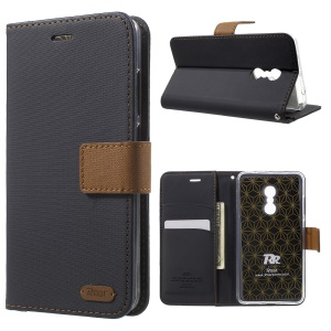 ROAR KOREA Twill Grain Leather Wallet Case for Xiaomi Redmi Note 4 - Black
